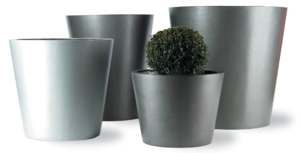 Cone Fibreglass/Resin Planters - Faux Lead